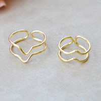 Chevron Wire Ring Set - Gold | Shop Civilized