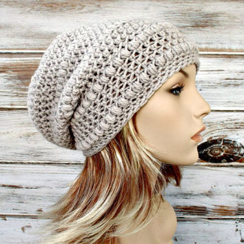 Crocheted Hat Womens Hat - Penelope Puff Stitch Slouchy Beanie Hat in Flagstone Greige Grey Beige
