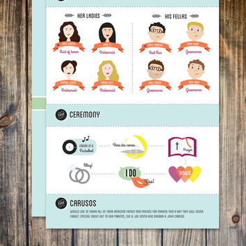 wedding program, printable, DIY wedding, custom illustration wedding party, print at home, wedding favors