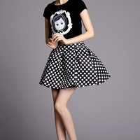 Black Print Top With Polka Dot Print Skirt