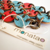 Turquoise and Red Lleather Bracelet Handmade Boho by monatao