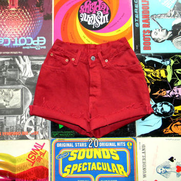 Highwaisted Denim Shorts, Vintage LEVIS Brick Red Jean Shorts, From the 80s,Frayed,Cuffed,Naturally Distressed Button Fly Cut Offs Size 0 xs