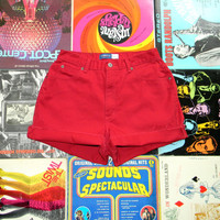 High Waisted Denim Shorts - Vintage 90s Red Jean Shorts - Cut Off/Frayed/Rolled Up/Cuffed Shorts by Liz Claiborne Size 12 Large/L
