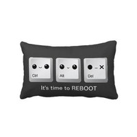 Kawaii Ctrl Alt Del Keyboard - Let's reboot Throw Pillows from Zazzle.com