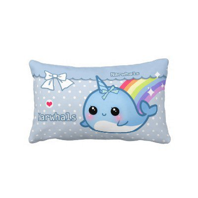Cute rainbow narwhal on white &amp; blue polka dots from Zazzle.com