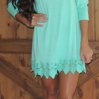 Keisha Crochet Shirt/Dress - Mint