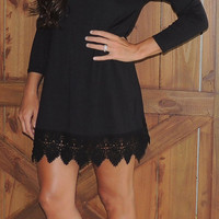 Keisha Crochet Dress- black