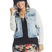 Denim Vested Hoodie | Wet Seal