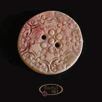 Ceramic Button  Handmade Round Button Pink Pecah  by rachelcart