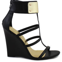 Jaida Gold Ankle Cuff Wedge - Black | Daily Chic