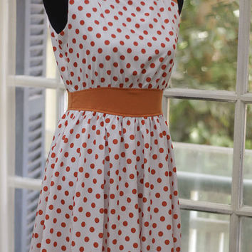 White Orange Polka dot Sleeveless Gathered waist Flare hem dress - Custom Sizing Available - ORTV37