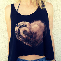Crop Top Tank Heart Print Boho Hippie by UnraveledClothing on Etsy