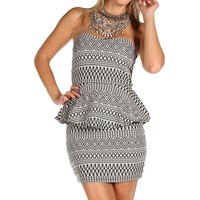 Ivory Tribal Peplum Dress