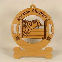 3218 German Shepherd Jumping Personalized Dog by gclasergraphics