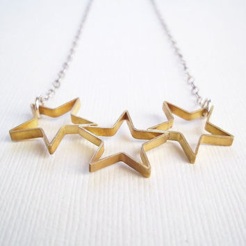 $28.00 Star Necklace Gold Brass Stars on Sterling Silver by CStarStudio