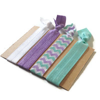 Elastic Hair Ties Lilac and Mint Chevron No Crease Yoga Hair Bands