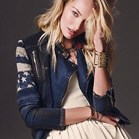 Free People Womens Americana Denim Jacket - Indigo