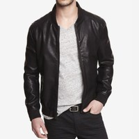 CRACKLED (MINUS THE) LEATHER BASEBALL JACKET