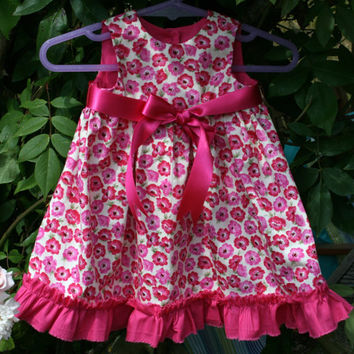 Pink poppies satin ribbon & frilly hem newborn baby dress NB 0 -3m girls dresses clothes Shower gift Individually handmade