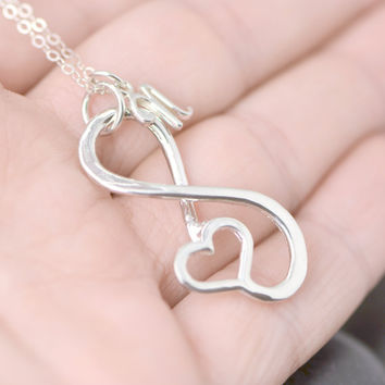 Personalized Infinity Pendant - Initial Charm Necklace - Infinity Jewelry - Personalized Necklace - Infinity Initial Jewelry