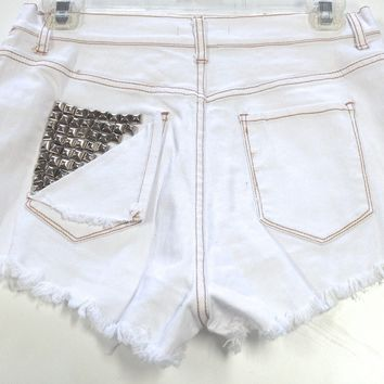 White Denim Distressed High Waist Shorts