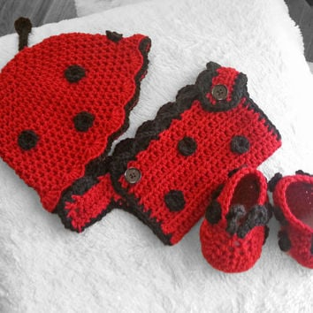 baby girl ladybug photo prop, hat, shoes, diaper cover, baby shower gift