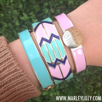 Pink, Mint and Dark Blue Aztec Enamel Bangle Bracelet | Accessories | Marley Lilly