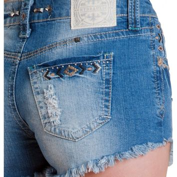 Premium Crafted Hydraulic Soho Short- High rise zip fly stretch jean 5 pocket with embroidery A