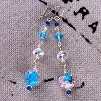 Handmade Bridal Earrings  Aqua Crystal and Swarovski  Platinum Plated | peaceloveandallthingsjewelry - Jewelry on ArtFire