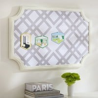Scallop Framed Monogram Pinboard, Ribbon Geo, Grey