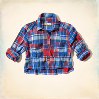 Northside Cropped Plaid Shirt