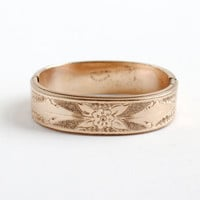 Antique Gold Filled Pat'd 1858 Floral Bangle Bracelet - Vintage Victorian Dated Etched Mid 1800s Jewelry