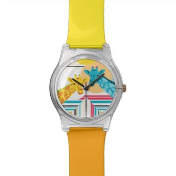 Giraffes In The Desert - Wrist Watch