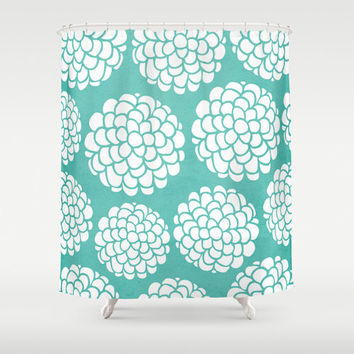Turquoise Hydrangeas Blossoms Shower Curtain for your home decor