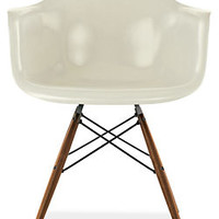 Room & Board - Eames® Molded Fiberglass Armchair in Lemon Yellow w/Walnut Dowel Legs by Herman Miller®