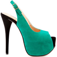 Luichiny's Multi-Color Too Much Fun - Aqua Black Suede for 89.99 direct from heels.com