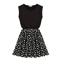 Zlyc Women's Sleeveless Casual Jersey Skater Dress with Contrast Floral Skirt