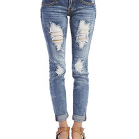 Almost Famous Destroyed Crinkle Jeans | Wet Seal