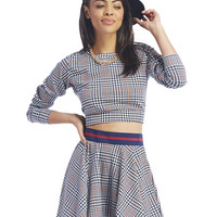 April Houndstooth Plaid Skater Skirt | Wet Seal