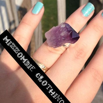 Raw AMETHYST  Ring Rough Points Purple Healing gemstone, Quartz  Crystal  Feng Shui, Reiki, Meditation adjustable ring, silver plated gypsy