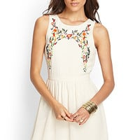 Embroidered Floral A-Line Dress