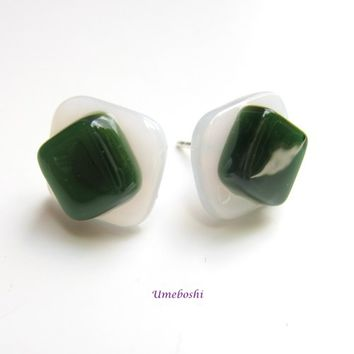 Avocado on White Handmade Fused Glass Post Earrings - Sterling Silver