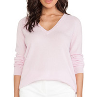 Asher V Neck Sweater in Cool Pink