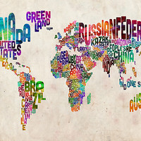 Typography Text Map of the World Map