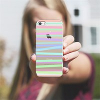 Pastel Rainbow Stripes - Transparent/Clear Background iPhone 5s case by Lisa Argyropoulos | Casetify