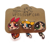 Power Puff Girls Inspired Cling Earrings