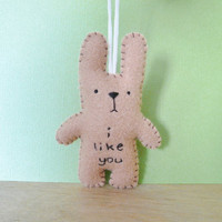 Plush bunny ornament I like you custom ornament by TheOffbeatBear
