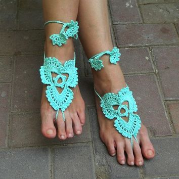 Cool mint crochet barefoot sandals beach wedding belly dance yoga