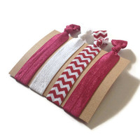 Elastic Hair Ties Burgundy Chevron No Crease Yoga Crimson Hair Bands