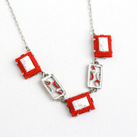 Antique Art Deco Red and White Molded Glass & Enamel Necklace- 1930s Silver Tone Panel Costume Jewelry